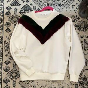 Mango faux fur sweatshirt